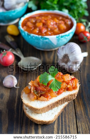 Sandwich with salsa - stock photo