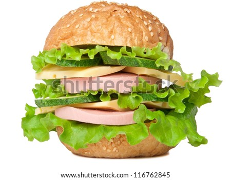 Sandwich with sausage cheese and greens isolated on white background