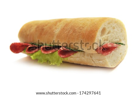 sandwich with sausage on a white