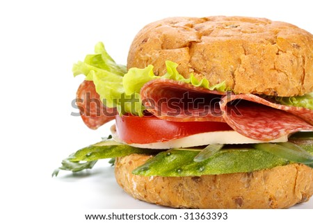 Sandwich with sausage on a white background