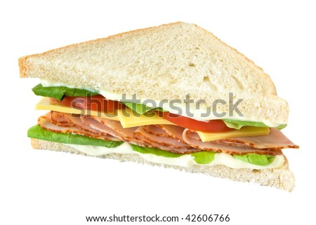 Sandwich with tomatoes and cheese isolated on white background - stock photo