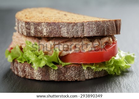 Sandwich with tuna and vegetables on rye bread on slate background - stock photo