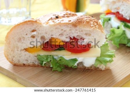 sandwich with vegetables and cheese - stock photo