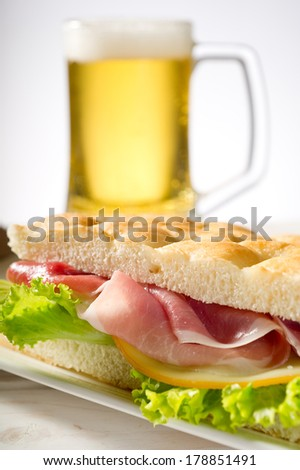 sandwich with white pizza and turkey ham - stock photo