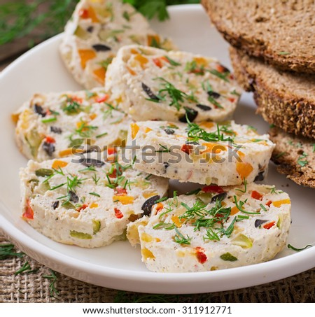Sandwiches chicken meat loaf with vegetables. - stock photo
