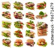 Sandwiches Collection isolated on white - stock photo