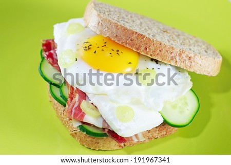 Sandwiches including egg, bacon, cheese - stock photo