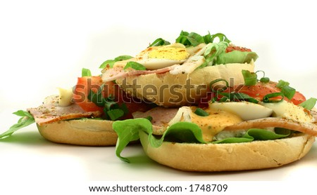 Sandwiches lying one at the top of another