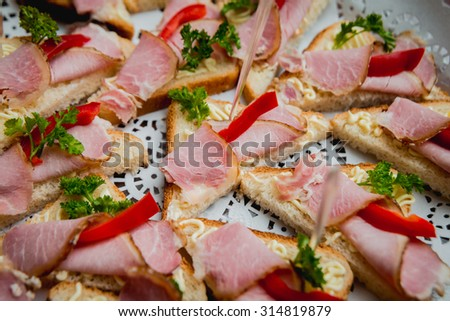 Sandwiches on a large plate. Catering. Restaurant