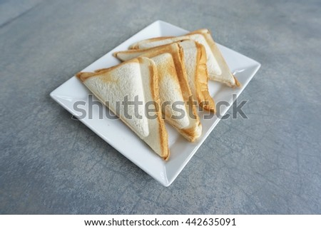 Sandwiches on the white plate - stock photo