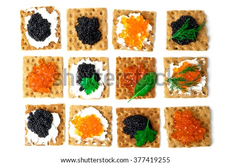 Sandwiches with caviar isolated on white background