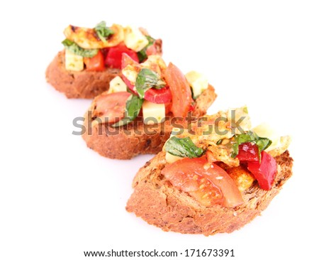 Sandwiches with chicken, tomato, cheese and bell pepper