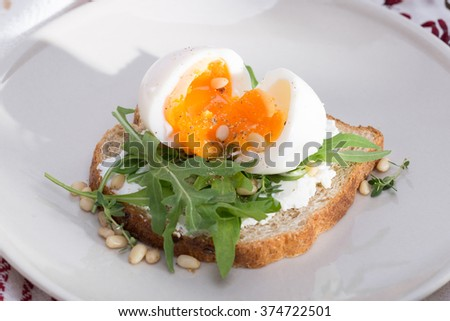 sandwiches with eggs - stock photo