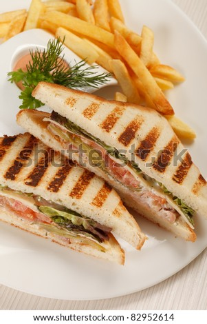 Sandwiches with French fried potatoes - stock photo