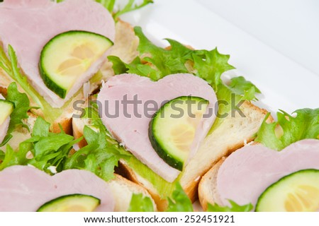 sandwiches with ham - stock photo
