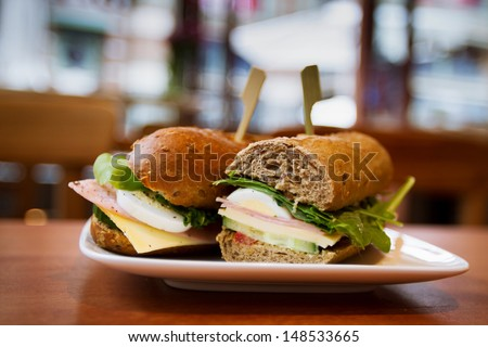 sandwiches with ham and cheese, snack - stock photo