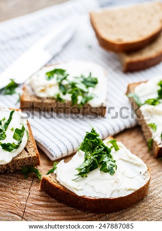 Sandwiches with melted cheese and herbs - stock photo