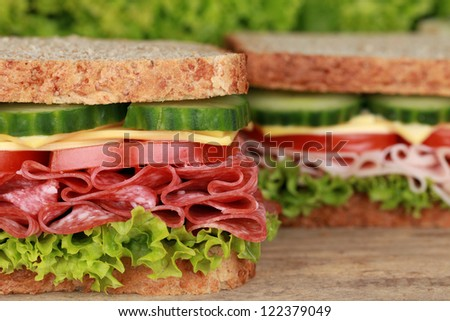 Sandwiches with pepperoni, ham, cheese, tomatoes, lettuce and cucumber - stock photo