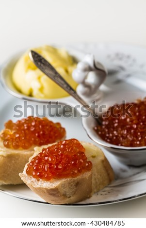 Sandwiches with red caviar of a salmon.