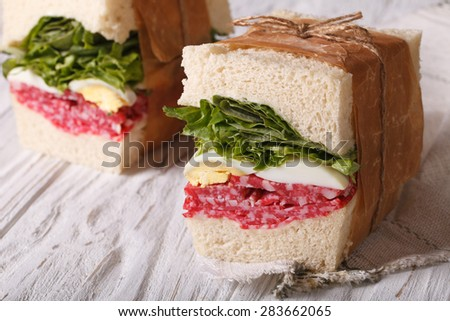 sandwiches with salami and egg wrapped in paper close-up on the table. horizontal