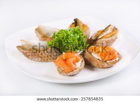 Sandwiches with salmon and halibut on a plate. - stock photo
