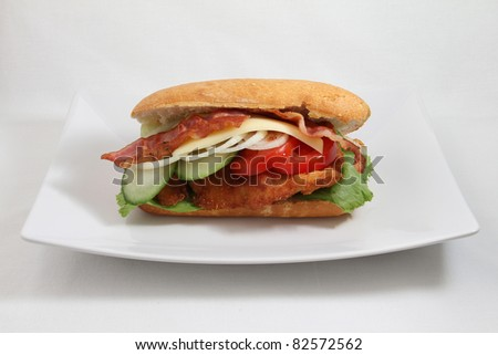 sandwitch on white plate isolated on white background - stock photo