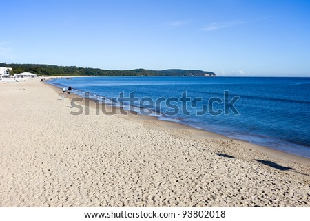 Sandy beach at the southern coast of the Baltic Sea in Sopot (seaside town in Eastern Pomerania region), Poland - stock photo