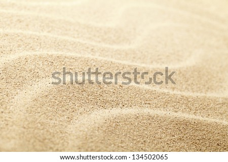 Sandy beach background for summer. Sand texture. Macro shot. Copy space - stock photo