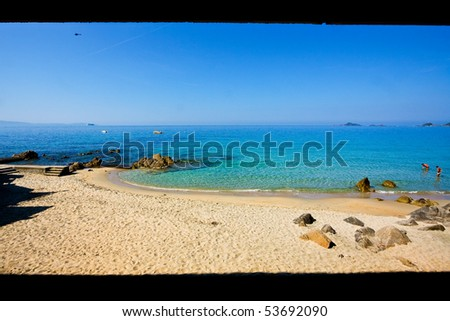 Sandy beach in Corsica - stock photo