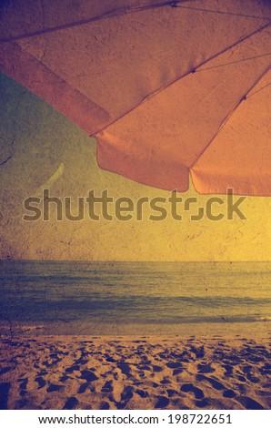Sandy beach in retro style - stock photo