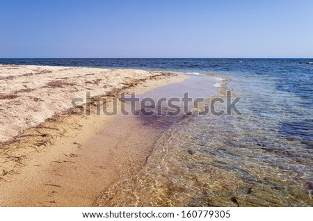 Sandy beach in Sithonia, Chalkidiki, Greece, with crystal clear water