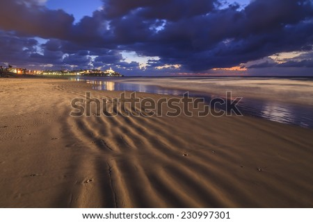 Sandy Beach in Tel Aviv by night - stock photo