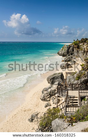 Sandy beach in Tulum, Yucatan, Mexico