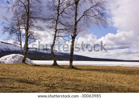 Sandy beach melts in spring sun, in the background mountains - stock photo