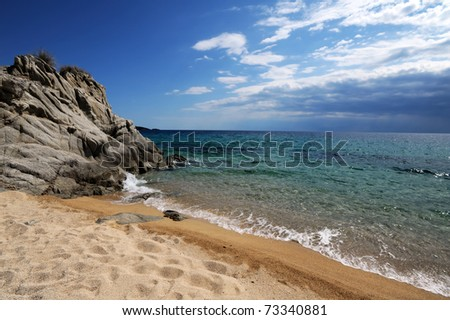 Sandy beach near Toroni in Halkidiki, Greece