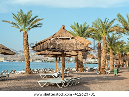 Sandy beach of Eilat - famous resort and recreation city in Israel