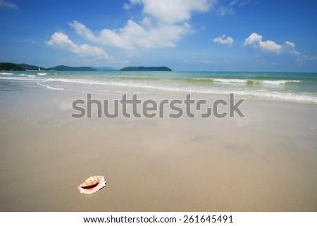 Sandy beach of the Malaysia  Langkawi island - stock photo