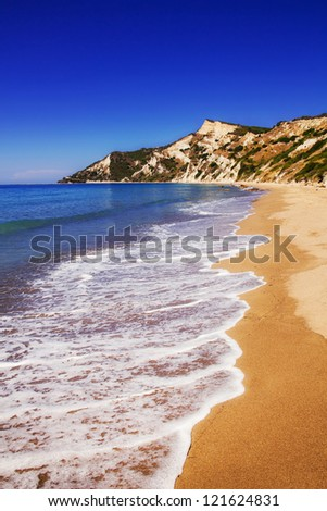 Sandy beach on Corfu island, Greece - stock photo