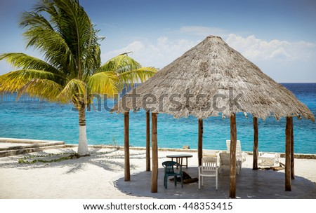 Sandy beach on Cozumel Island, Quintana Roo, Mexico - stock photo