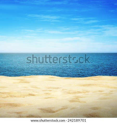 Sandy beach on sunny summer day  - stock photo