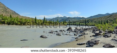 sandy beach on the river Katun, Altai Mountains, Siberia, Russia - stock photo