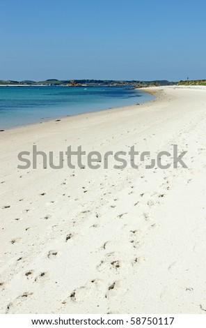 Sandy beach St. Martin's Isles of Scilly Cornwall UK. - stock photo