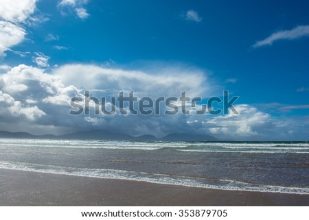 Sandy Beach with Clouds in Ireland - stock photo