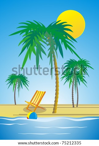 sandy beach with palm trees