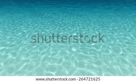 Sandy bottom, blue and surface underwater - stock photo