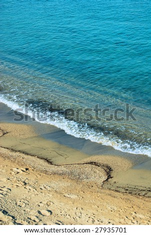 sandy coast of mediterranean sea - stock photo