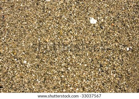 Sandy dark ground on a summer beach - stock photo