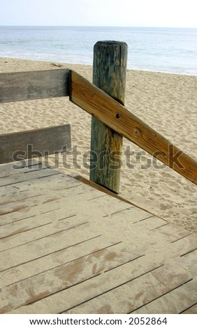 Sandy gateway to beach - stock photo