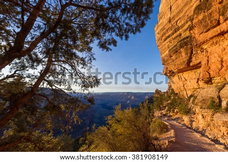 Sandy hiker path in the Grand Canyon mountains, USA - stock photo