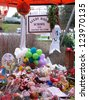 SANDY HOOK, CT - DECEMBER 14: School shooting memorials created following December 14, 2012 massacre at Sandy Hook Elementary School in Sandy Hook, Connecticut. - stock photo